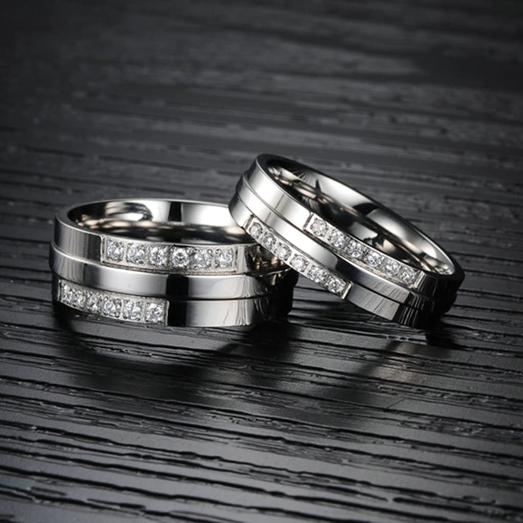 Bishilin 2Pcs Stainless Steel Promise Engagement Couple Wedding Bands for Him and Her Cubic Zirconia CZ Rings Women Size 5 /& Men Size 8