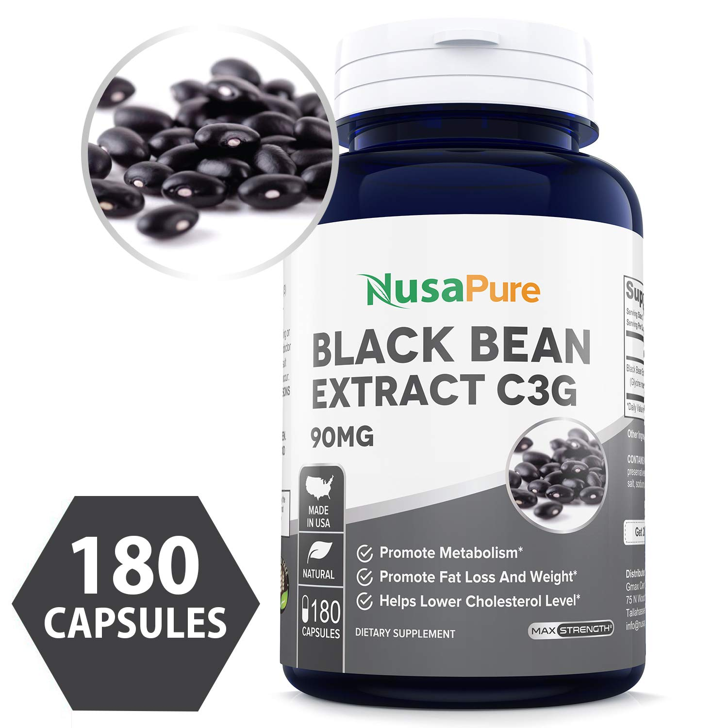 Black Bean Extract C3G 90mg 180caps (Non-GMO & Gluten Free) Superior Fat Burning Properties Increases Your Metabolism by NusaPure