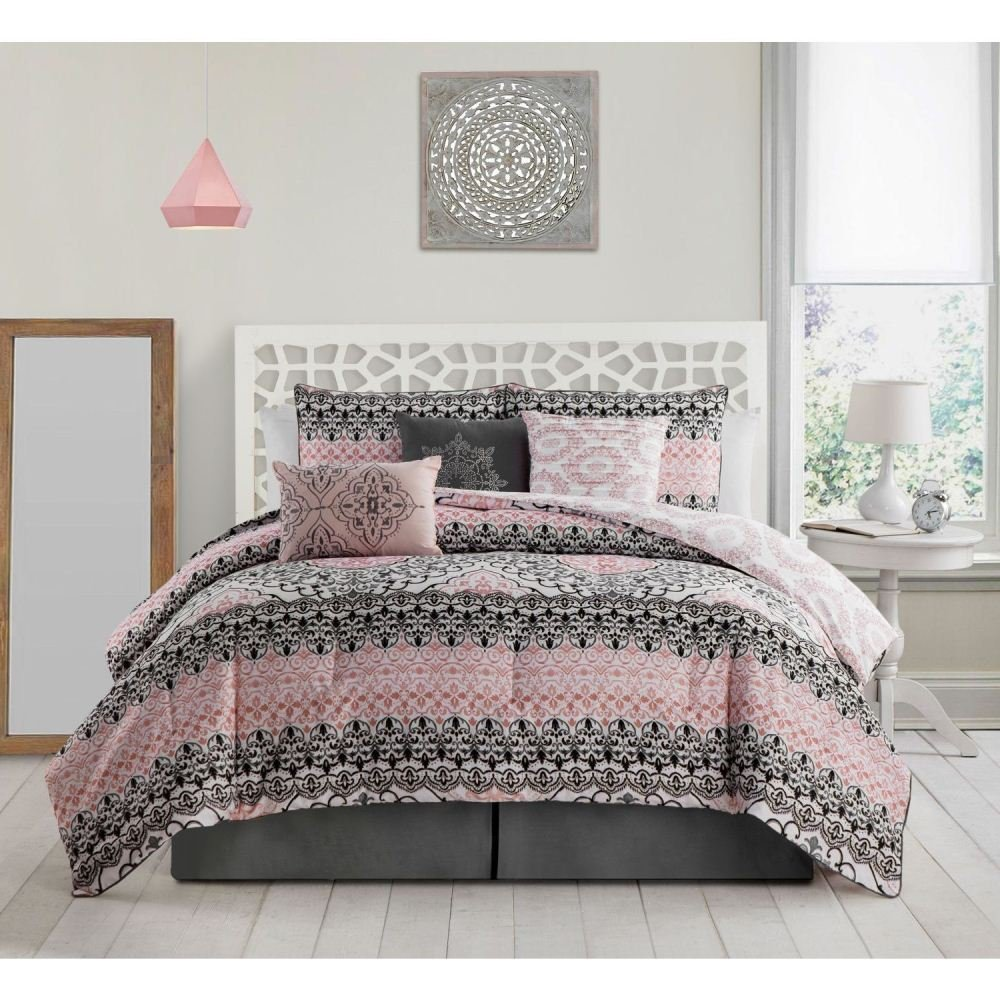 7 Piece Pink Damask Theme Comforter King Set