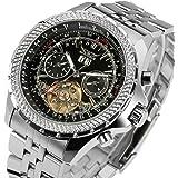 GuTe Elegant Pro Mens Automatic Mechanical Wristwatch Decor Tourbillon Luminous Tachymeter Black
