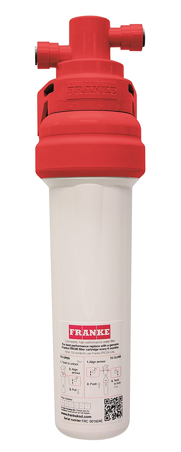 Franke FRCNSTR100 Under Sink 1-Stage Filtration Canister with Quick Change System, Includes 6-Month FRC06 Water Filter, Small White and Red