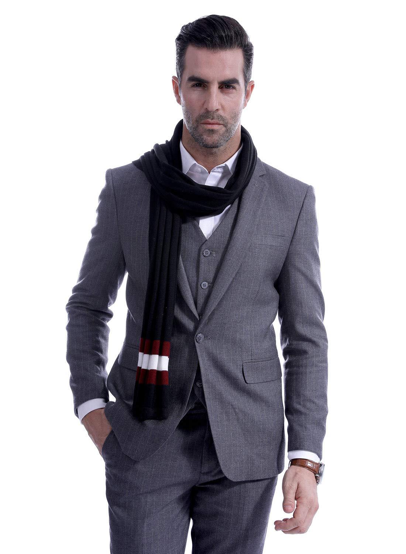 Men Wool Scarf Luxurious Knitting Striped Warm Neckerchief Oversize Check Scarf Long Lightweight Winter Scarf Black