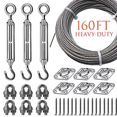 Newpow String Lights Hanging Kit for Outdoor, Heavy-Duty Turnbuckle Pad Eye Wire Rope Clamp Well-Made 304 Stainless Steel Suspension Kit with Great Durability and Rust Resistance - Easy to Install