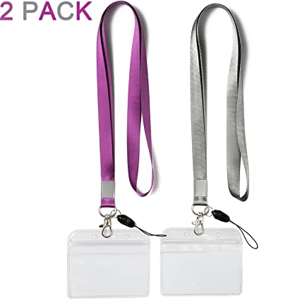2 Pack ID Badge Holders With Purple Lanyards Office Neck Strings Strap Grey Lanyard
