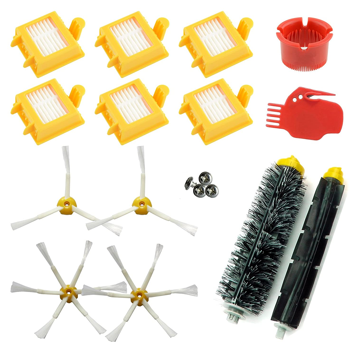 asp-robot ® Spare Parts Roomba 700 Series 760 765 770 772 775 776 776p 780 782 785 786. HEPA Filter, Side Brush, Roller Central and Accessories. Pack Replacement. Kit Spare New (6 x FILTERS, 2 X 3 Blades, 2 X Brushes Brushes Brushes Pack of 6 Blades, 1 x