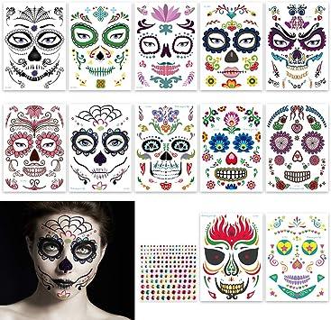 FHzytg 12 St/ück Halloween Schminke Tempor/äre Gesicht Tattoos mit 1 St/ück Diamant Aufkleber Tag der Toten Gesichtstattoo Sch/ädel Totenkopf Schminken Aufkleber f/ür Halloween Maskerade Party Cosplay