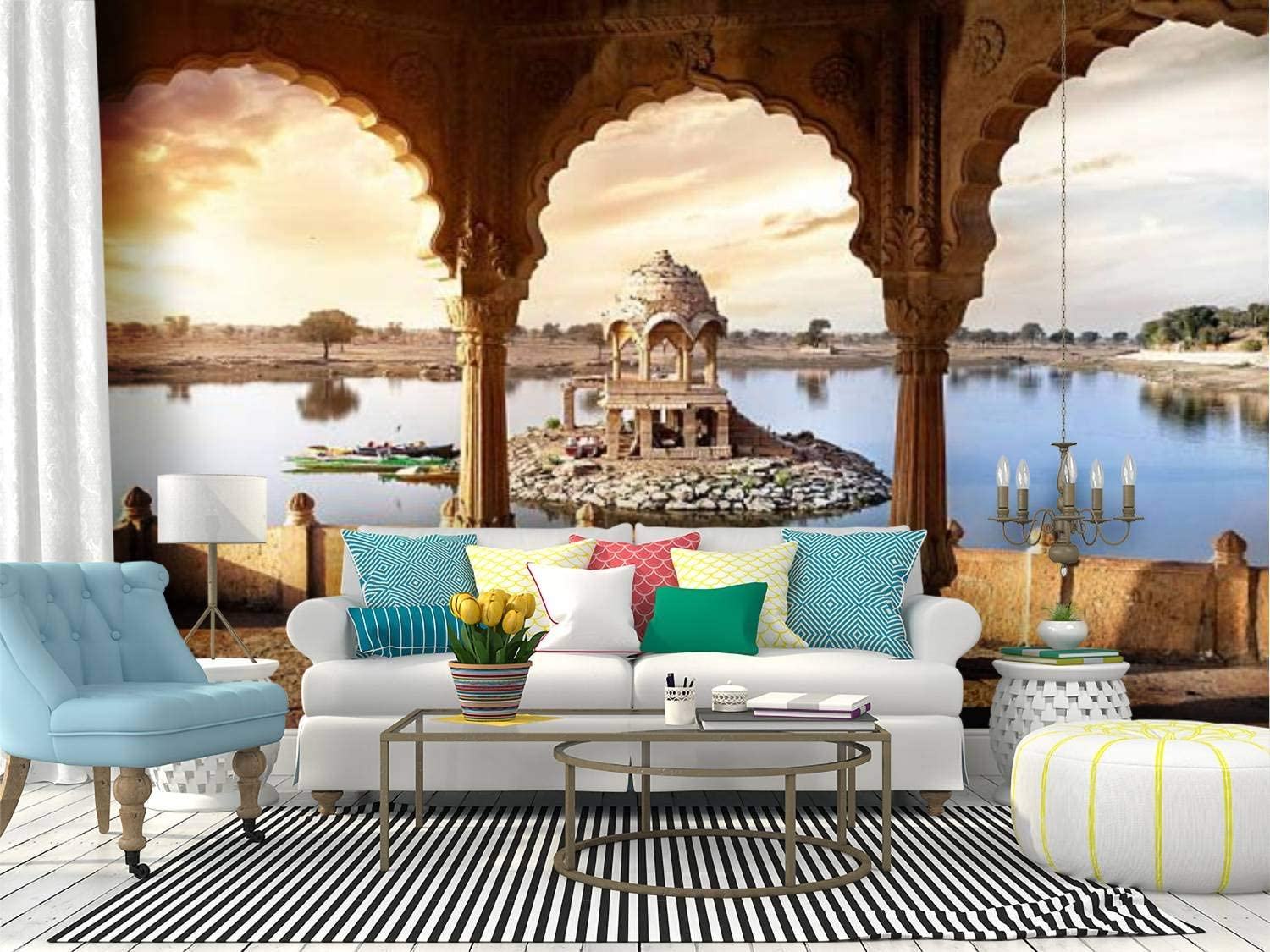 Amazon Com Wall Mural Temple On The Water In India Historic Architecture Stock Pictures Peel And Stick Wallpaper Self Adhesive Wallpaper Large Wall Sticker Removable Vinyl Film Roll Shelf Paper Home Decor Home