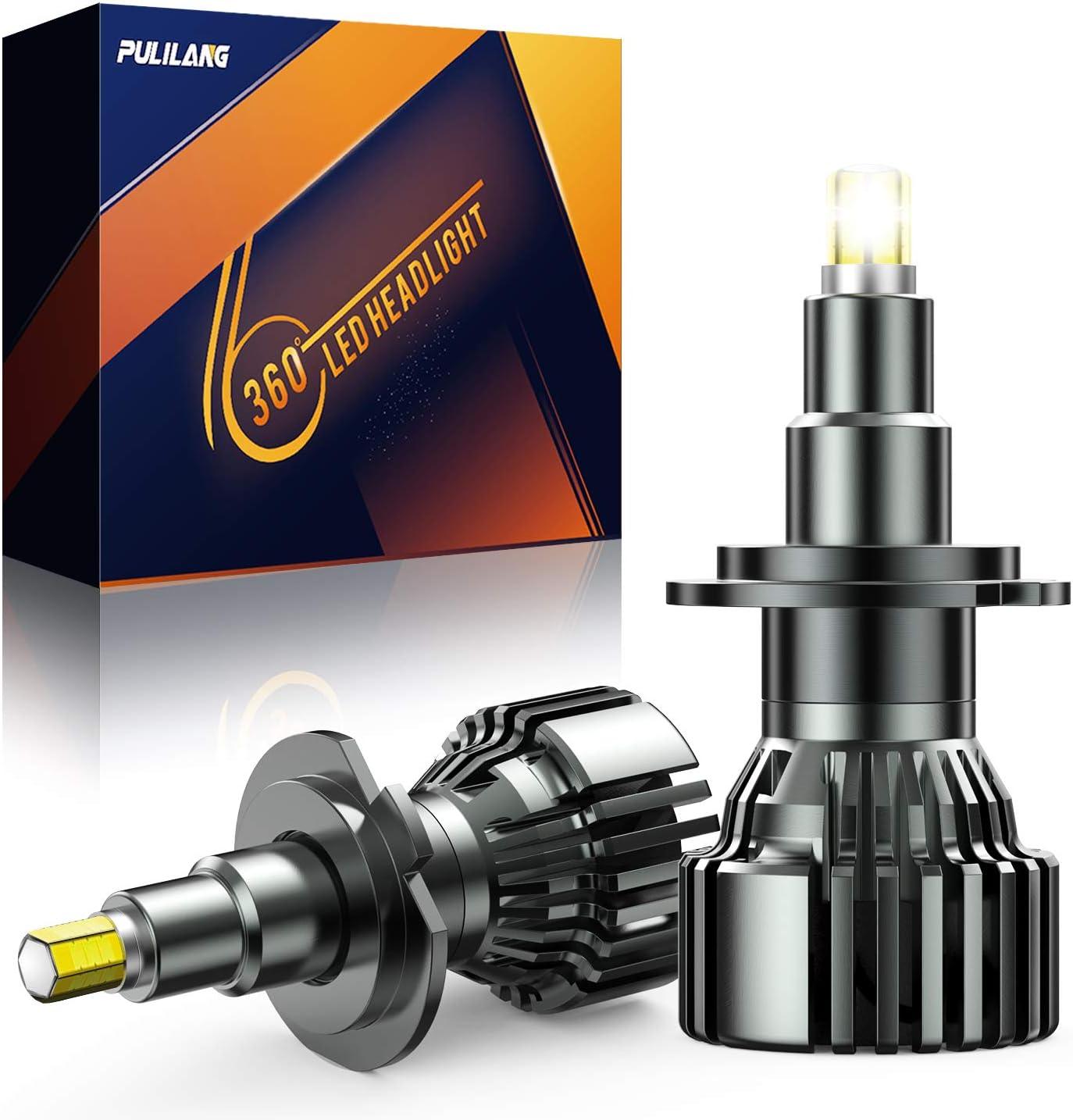 Pulilang Bombilla LED para Coche Faros Delanteros H7 LED 360 ° Faros - Luces de Haz Bajo -Luces de Haz Alto Más - 6 Lados 18 Piezas CSP Chip 60W Lámpara LED Coche Xenon Blanco 6000K 16000LM