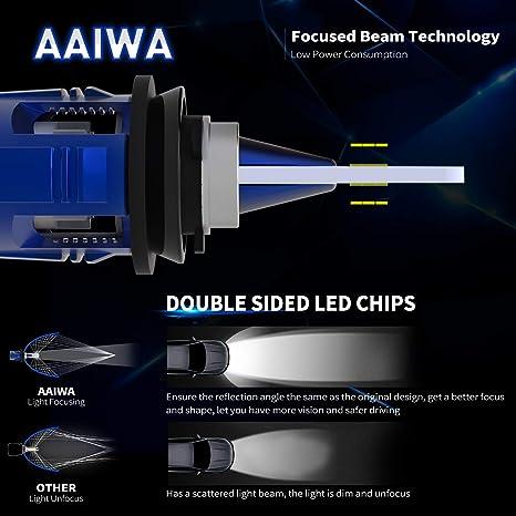 AAIWA Bombilla H11 LED Coche y Moto, Luces Faros Delanteros,Kit de Conversión de Bombillas Leds IP68 Impermeable, 8000 Lumenes 60W 12V-24V 6500K Blanco para ...
