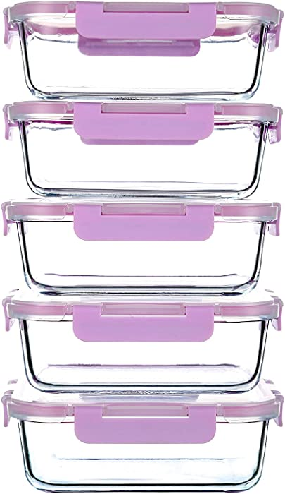 34 Oz Glass Food Storage Containers with Plastic Lids,5 Pack Glass Meal Prep Containers,BPA Free Microwave Safe Food Storage