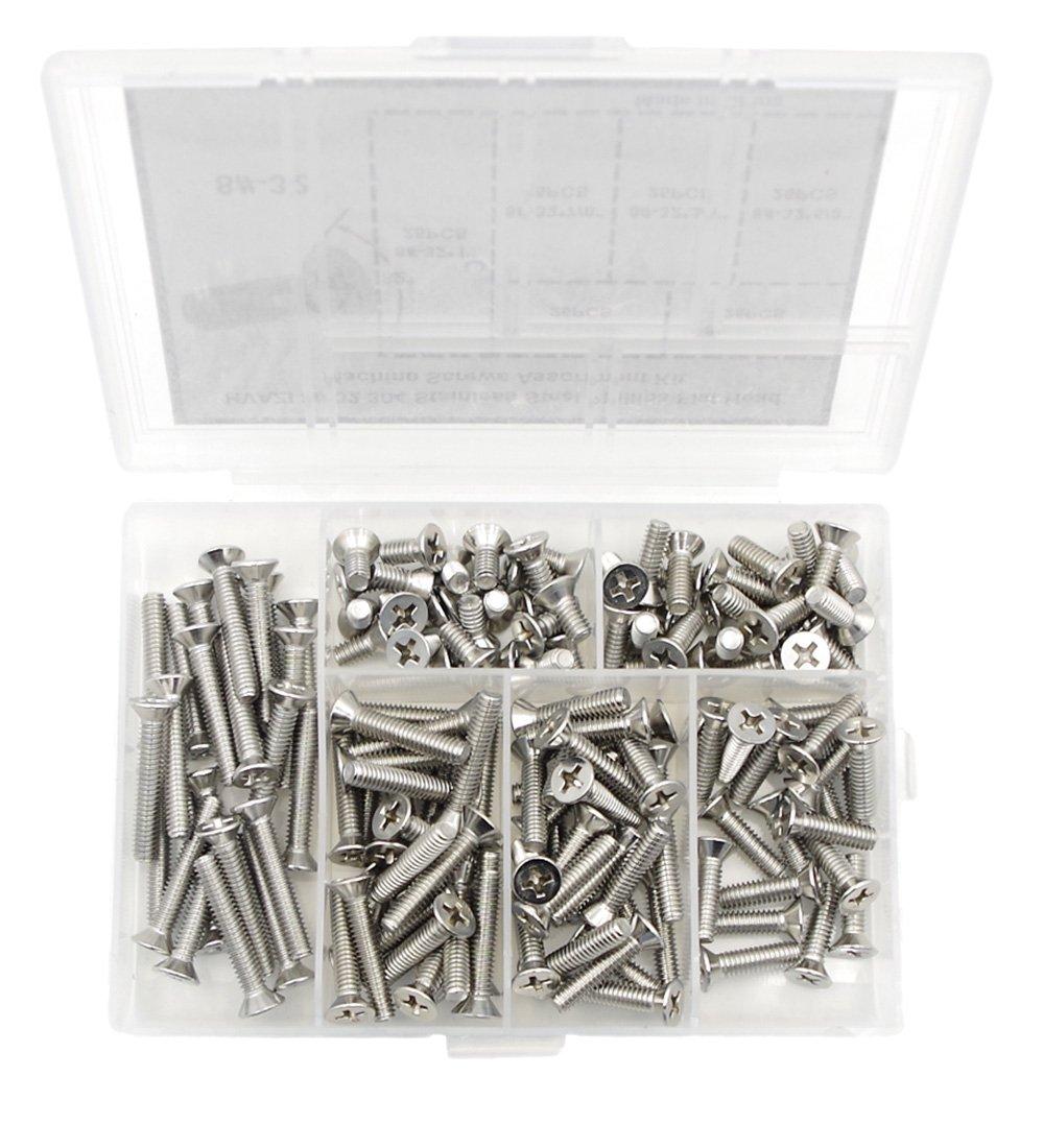 HVAZI #2-56 UNC Stainless Steel Phillips Flat Head Machine Screws Nuts Assortment Kit
