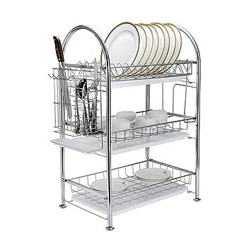 Amazoncom Tier Dish Drying Rack Dish Drainer Kitchen Storage - Kitchen storage racks shelves