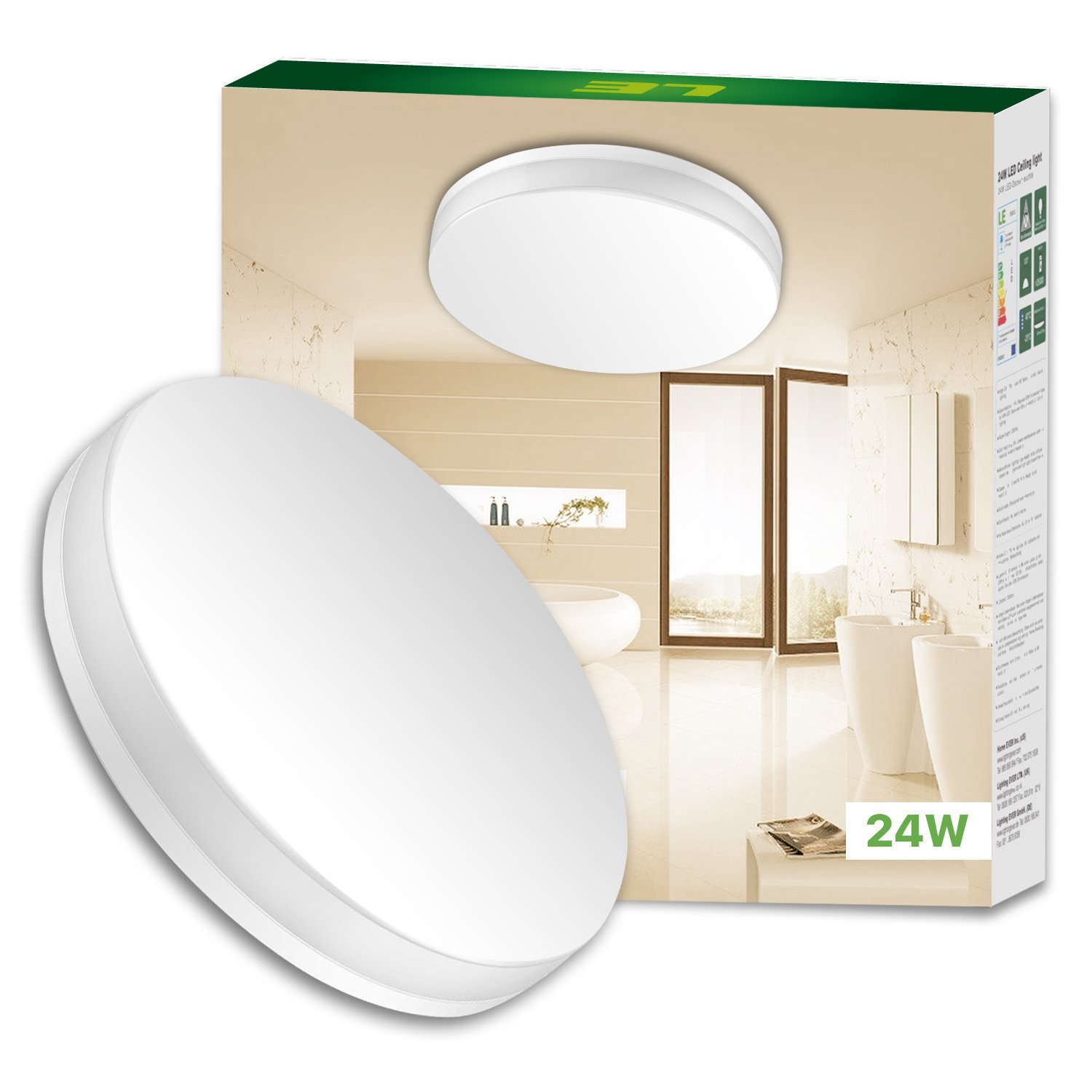 LE 24W Dimmable LED Ceiling Light 33cm Waterproof IP54 2100lm Warm White 120° Beam Angle 100W Incandescent Bulb Replacement Flush Mount Lighting for Bathroom Bedroom Kitchen Hallway [Energy Class A+] Lighting EVER