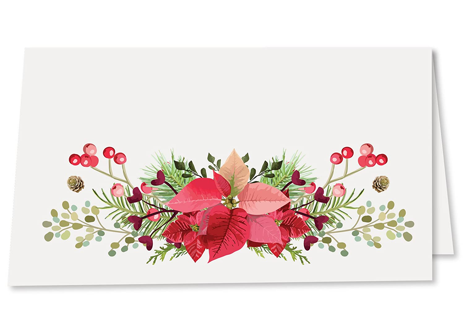 Koko Paper Co Rustic Christmas Place Cards with Poinsettia, Holly, Pine Cones and Winter Florals. Pack of 50 Tent Style Cards for Holiday Dinner, Brunch, Party, or Any Occasion. No Holder Necessary.
