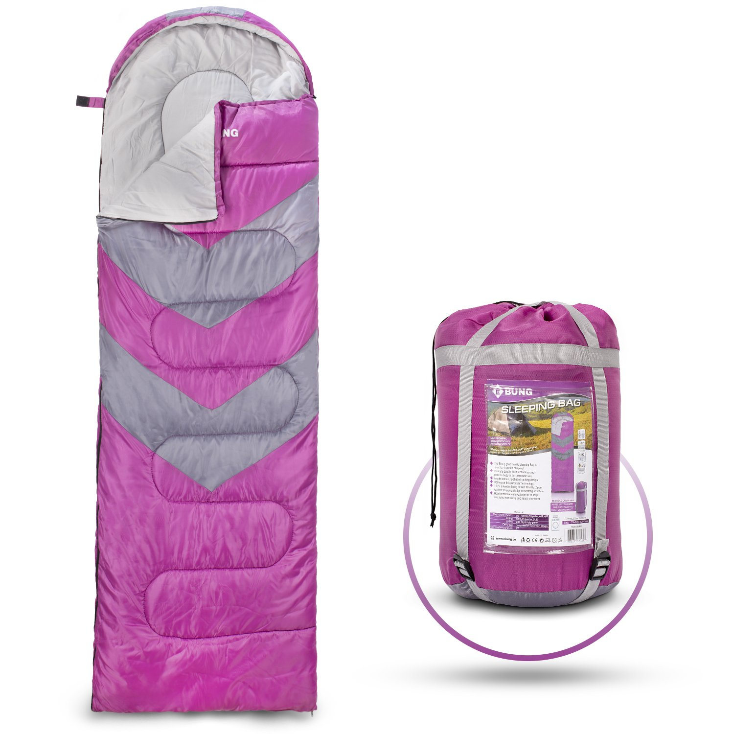 Ebung Extreme Weather Sleeping Bag for Adults, Boys & Girls, Teens – Protection from Cold – For Anyone upto 6.1' – Ideal Four Season Backpacking Sleeping Bag for Camping, Hiking, other Adventures by Ebung