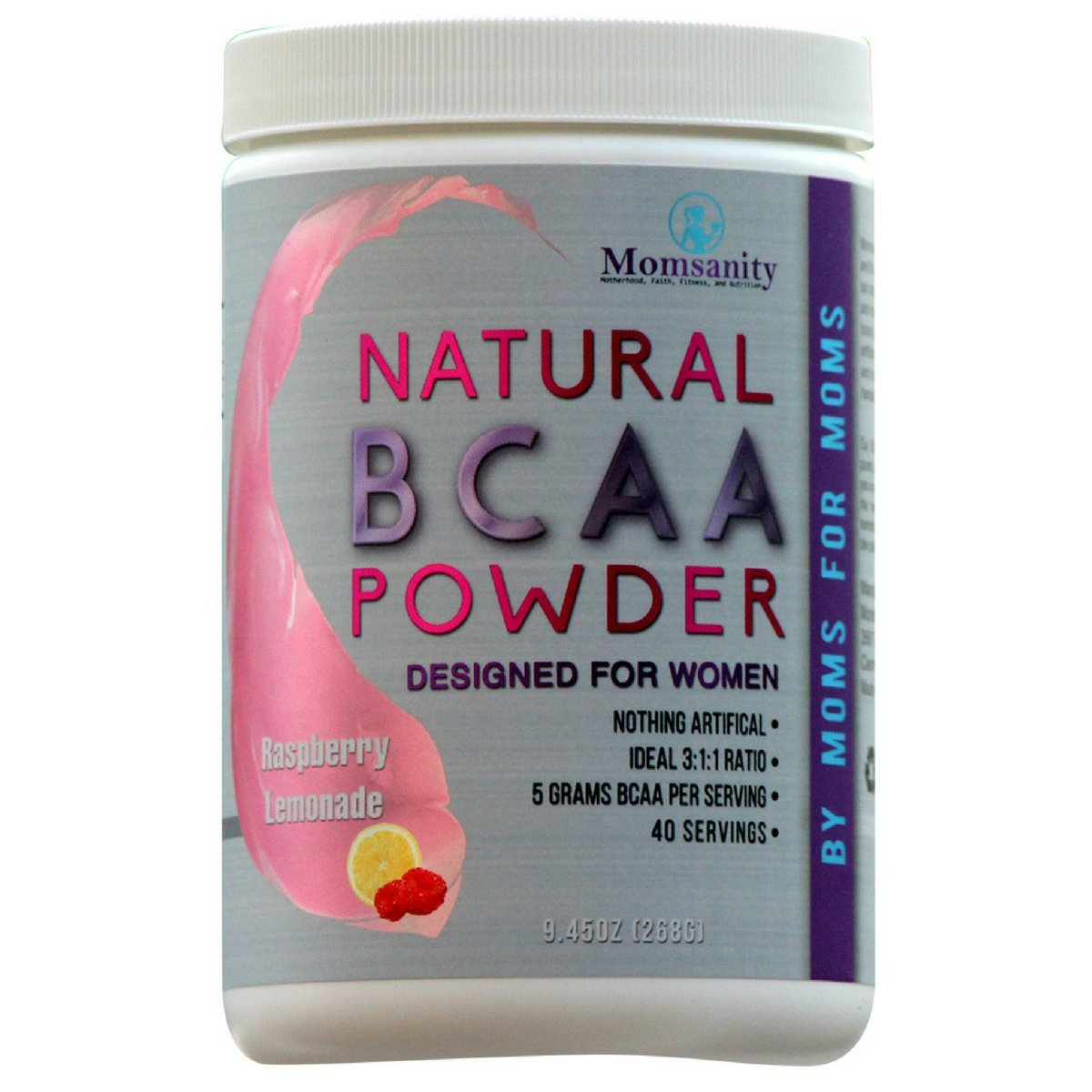 Natural BCAA Powder. Great Tasting Raspberry-Lemonade Flavor. 40 Servings. Sweetened with Stevia, Erythritol, and Monk Fruit. Made by Women for Women.