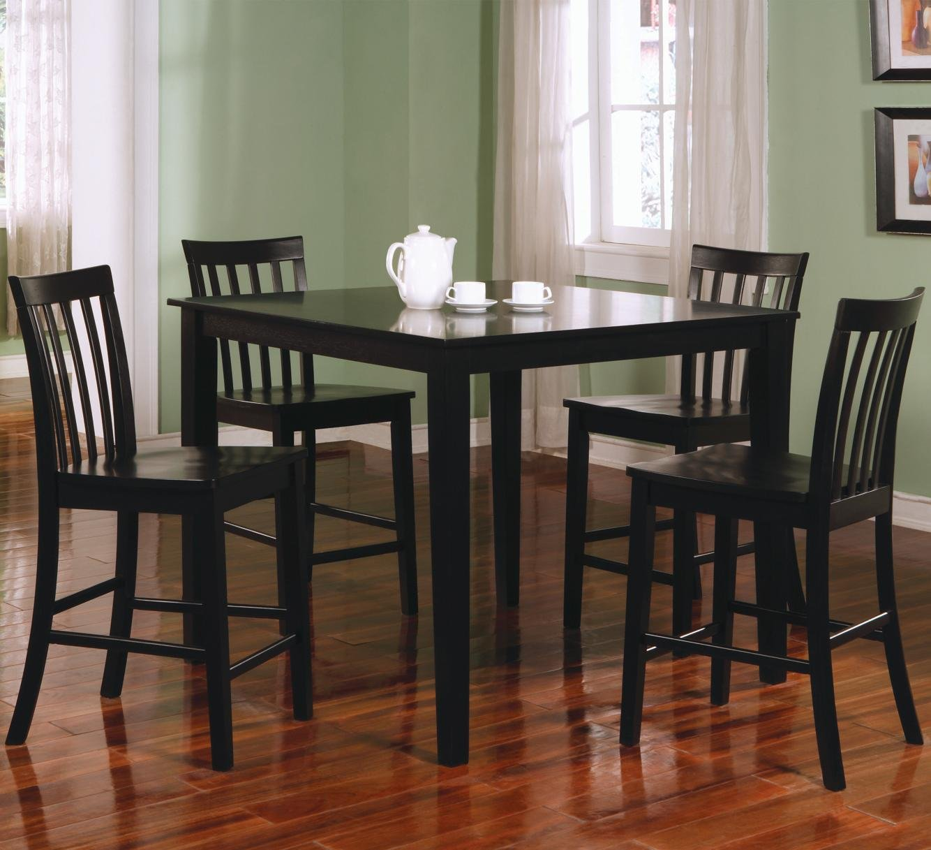 Amazon.com   Ashland 5 Pc Counter Height Dining Set In Black By Coaster    Table U0026 Chair Sets