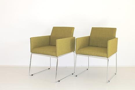 Mila conjunto de 2 sillones de tela color verde para ...