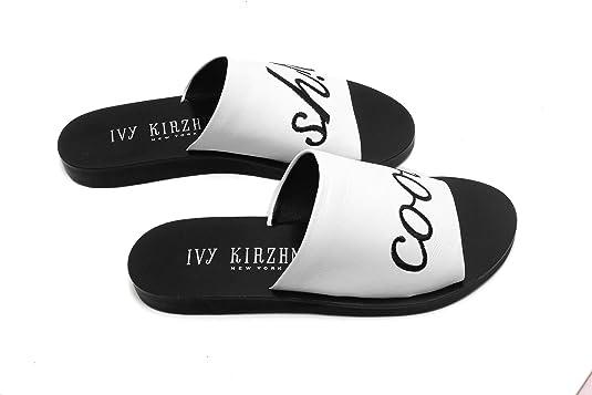 Ivy Kirzhner Quotes Cool Shi# White /& Black Flat Slide Mule Slip On Sandals