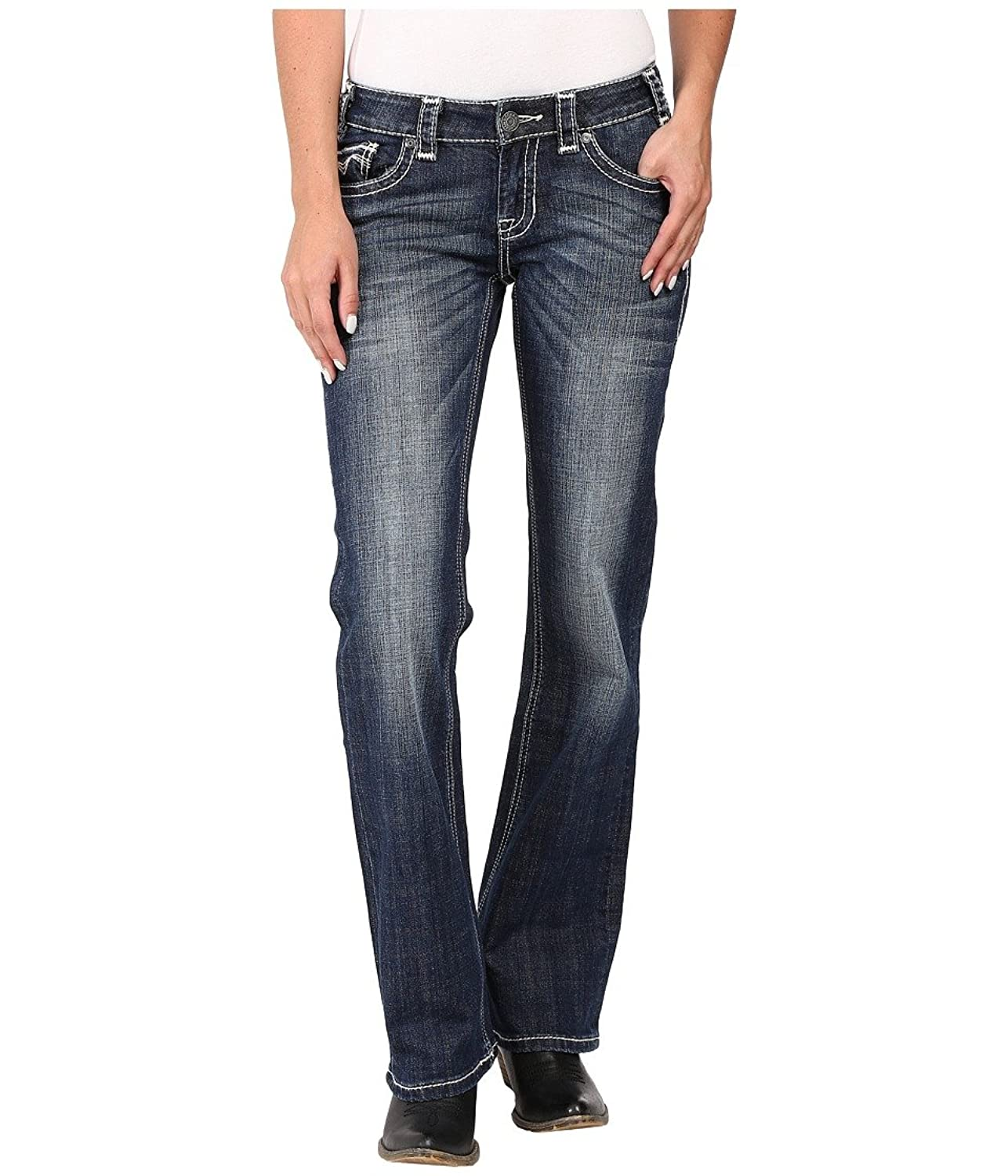 Rock and Roll Cowgirl Women's Riding Bootcut in Dark Vintage W7-8484 Dark Vintage Jeans 33 X 32