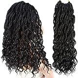 """Firstcyh Hair 6 Packs Goddess Box Braids Crochet Hair Faux Locs Braids Hair Wavy Dreadlocks Crochet Box Braids Hair Curly Ends Synthetic Braiding Hair Extensions 6 Packs (20"""", 1B#)"""