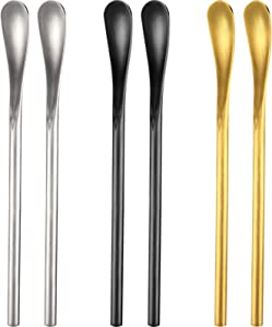 5.12 Inch Coffee Spoons Cocktail Tea Stir Sticks 304 Stainless Steel Spoons Espresso Beverage Drink Stirrer Spoons with Short Handle for Bar Home Office (6, Silver, Black, Gold)