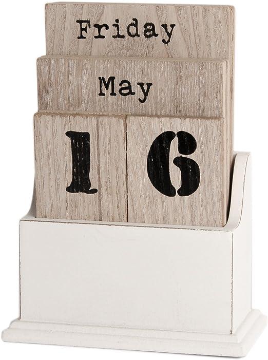 Ewiger KALENDER Holz Holzwürfel Dauerkalender Vintage Shabby chic Tischkalender