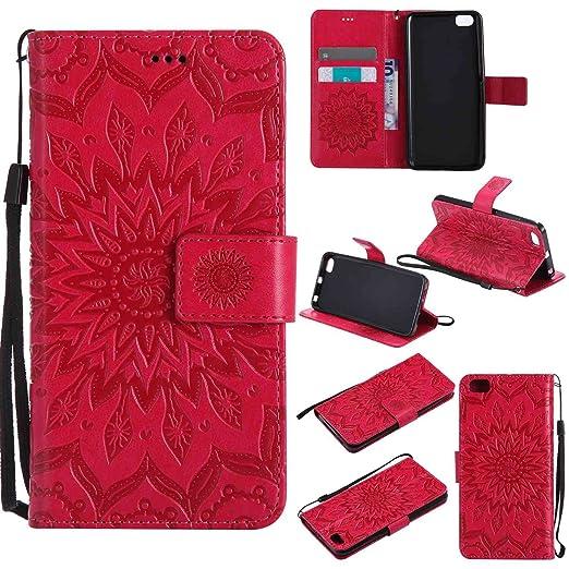 pinlu® Flip Funda de Cuero para Xiaomi Mi5 Carcasa con Función de Stent y Ranuras con Patrón de Girasol Cover (Rojo)