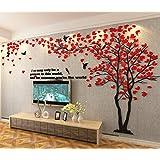 Albero Adesivo da Parete, Alberi e Uccelli 3D Adesivi Murali Arts Wall Sticker Decorativi per TV Par (M-250 * 130cm, Rosso Destra)