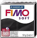 Staedtler pâte à modeler FIMO soft, facile à démouler, durcissant au four, pain de 57 g noir, 8020-9