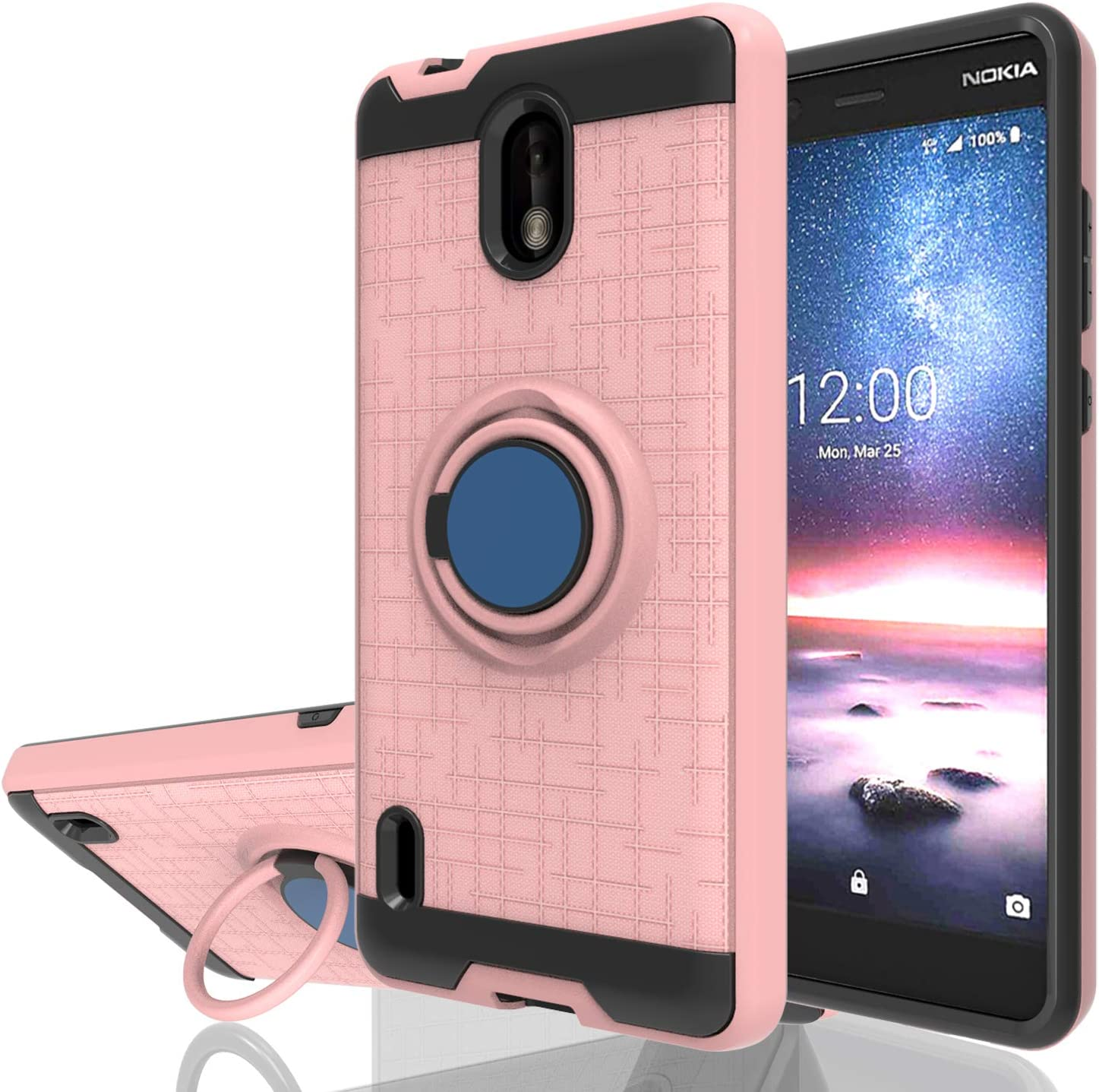Wtiaw Nokia 3.1C Case,Nokia 3.1A Case,Nokia 3.1 C Phone Cases,Nokia 3.1 A Phone Cases,360 Degree Rotating Ring Kickstand [TPU+PC Material] Hybrid Dual Layer Defender Case for N0KIA 3.1C-CH Rose Gold