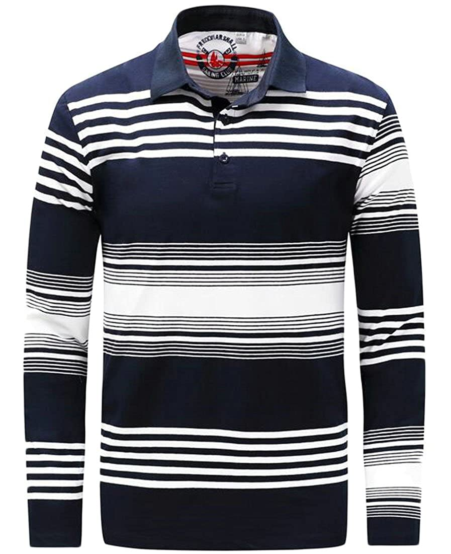 M/&S/&W Mens Classic Slim Fit Cotton Striped Polo Shirt Top