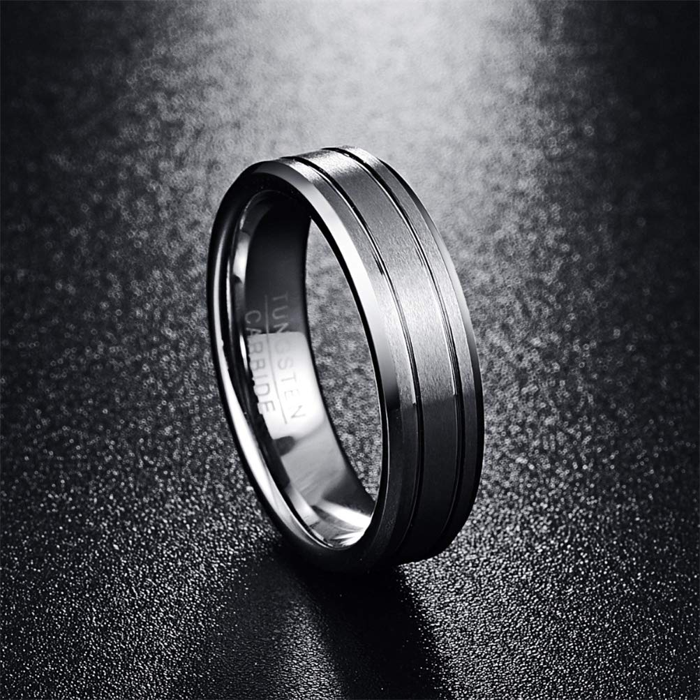 Hinghok Mens 6mm Two Grooves Matte Finish Beveled Edge Tungsten Wedding Bands