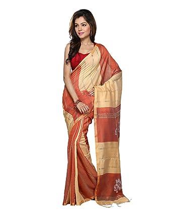 d2c98b26c1e247 Bengal Handloom Saree Silk Cotton Saree (Hts4 Rust)  Amazon.in ...