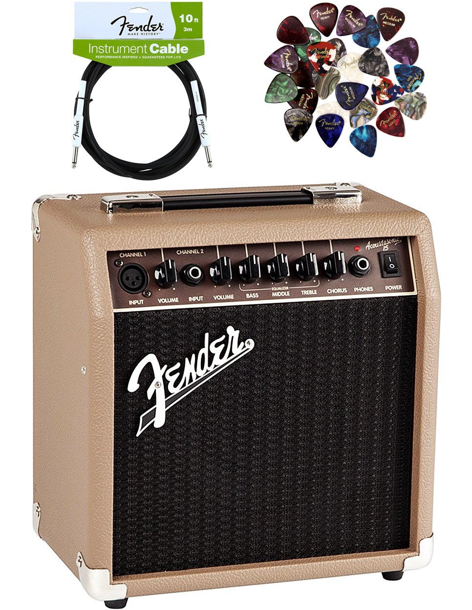 Fender Acoustasonic 15 Acoustic Guitar Amplifier - Brown and Wheat Bundle with Instrument Cable, 24 Picks, and Austin Bazaar Polishing Cloth by Fender