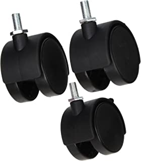 Uxcell a15042400ux0071 2 Twin Wheel 5//16 Threaded Stem Brake Swivel Nylon Casters 3pcs