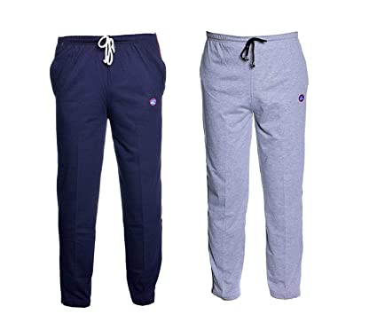 Vimal Navy Blue And Grey Men's Cotton Trackpants ( Pack Of 2) Men's Track Pants at amazon