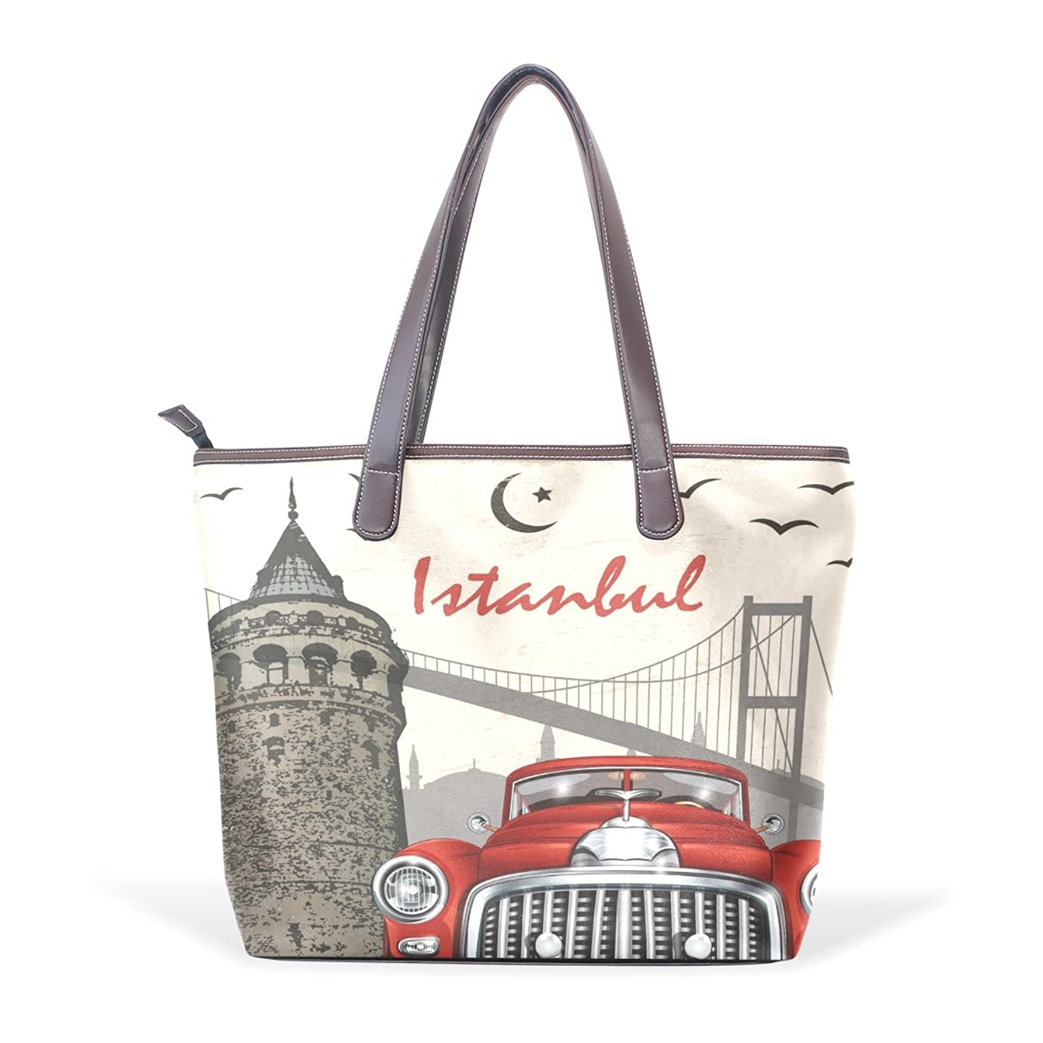 Womens Leather Tote Bag,Vintage London Old Car,Large Handbag