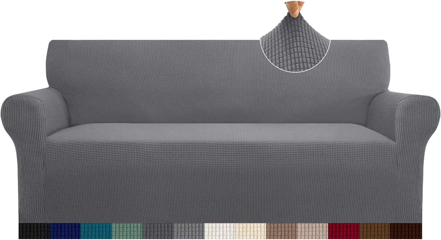 Cherrypark High Stretch Sofa Cover for 3 Cushion Couch 1 Piece Thickened Couch Cover for Dogs Anti-Slip Furniture Protector with Elastic Band(Large,Light Gray)