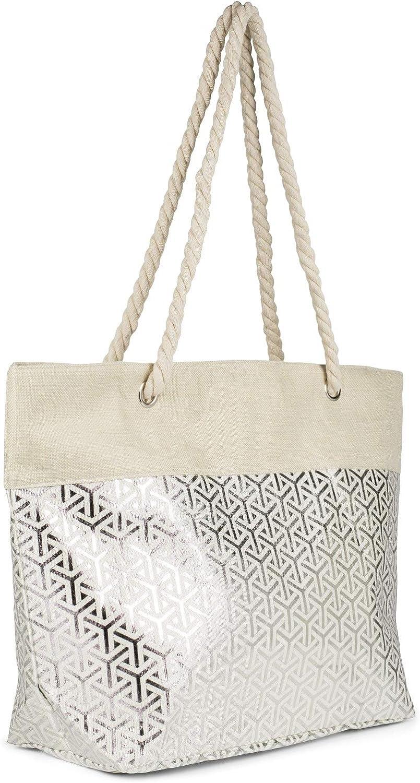 bolso de hombro comprador 02012347 styleBREAKER Damas XXL Gran bolso de playa con patr/ón met/álico infinito y cremallera