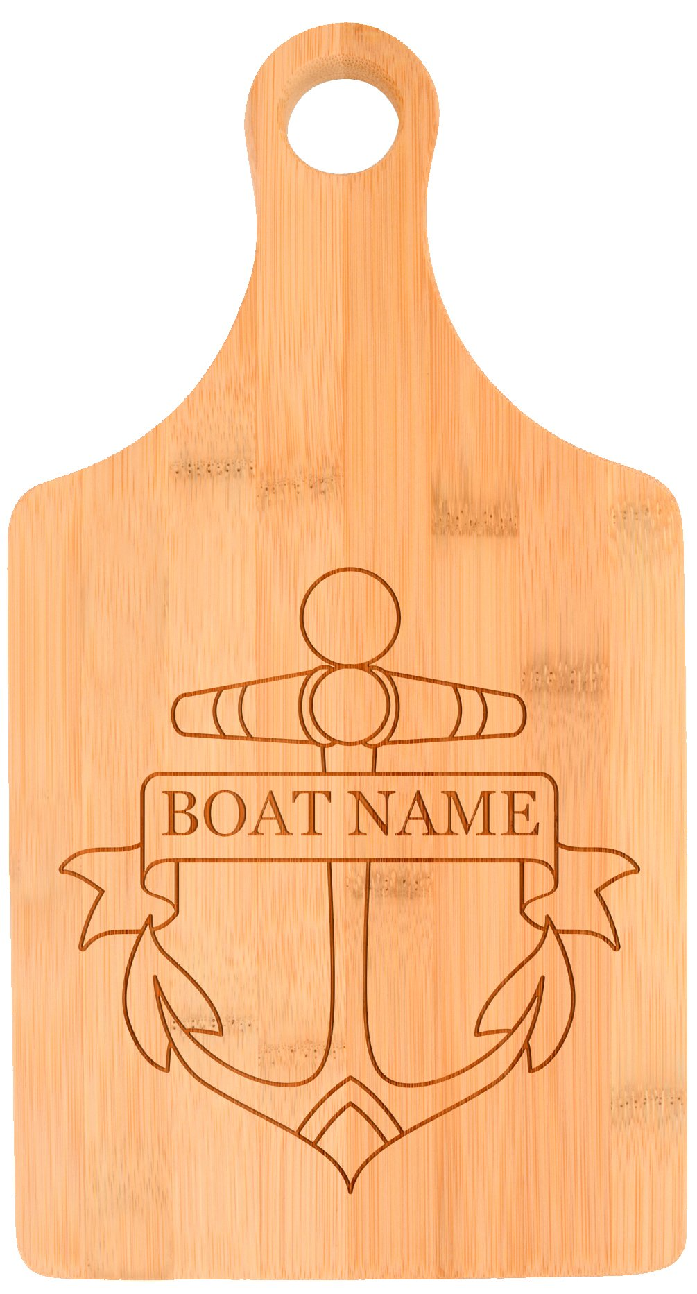 Customized Boating Gift Nautical Boat Name Anchor Personalized Paddle Shaped Bamboo Cutting Board by Personalized Gifts