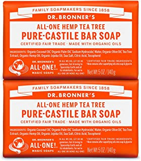 product image for Dr. Bronner's - Pure-Castile Bar Soap (Tea Tree, 5 ounce, 2-Pack) - Made with Organic Oils, For Face, Body, Hair and Dandruff, Gentle on Acne-Prone Skin, Biodegradable, Vegan, Non-GMO