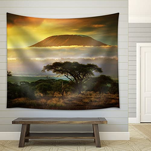wall26 – Mount Kilimanjaro and Clouds Line at Sunset, View from Savanna Landscape – Fabric Wall Tapestry Home Decor – 68×80 inches