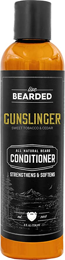 Live Bearded: Beard Conditioner - Gunslinger - Facial Hair Conditioner - 8 oz. - Strengthens and Softens - All-Natural Ingredients with Biotin, Coconut Oil, Argan Oil, and Caffeine - Made in The USA