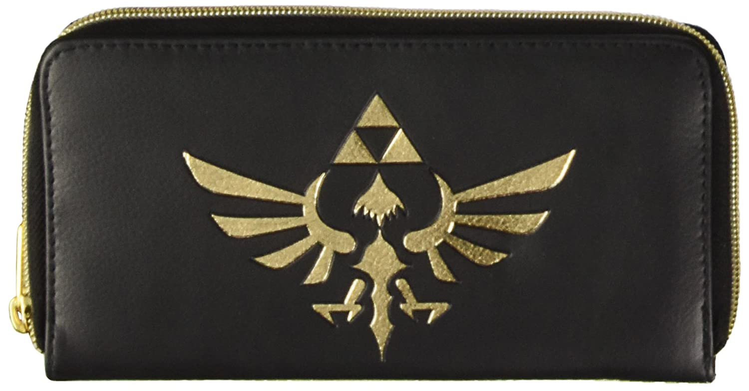 TALLA 20 cm. Legend of Zelda Triforce Ladies Logo Zip Alrededor de Cartera / Monedero