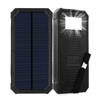 Cargador solar, batería solar portátil de 15000 mAh con dos puertos de salida USB, cargador de batería solar externo para teléfono móvil, con linterna ...