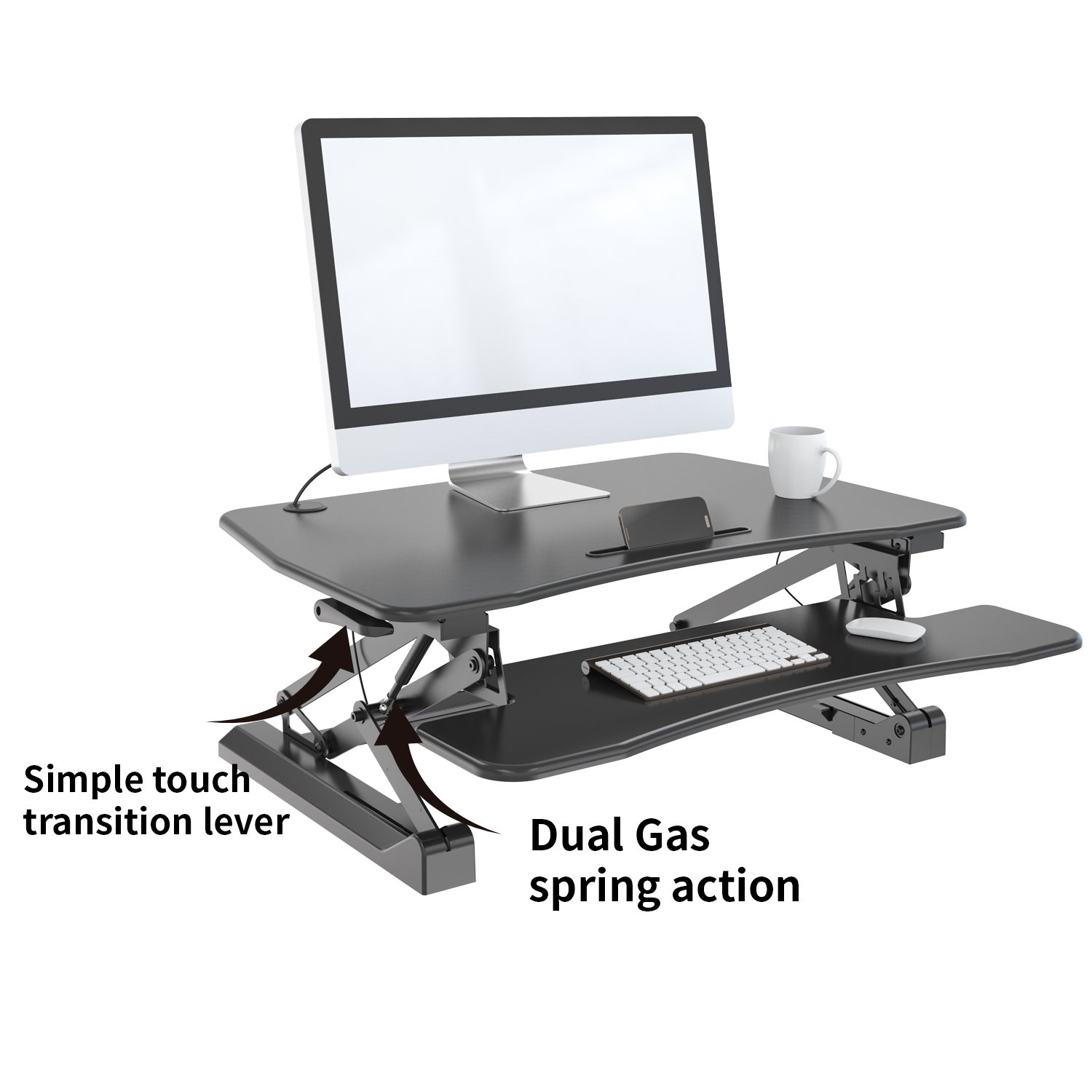 Zeal Height Adjustable Standing Desk Ergonomic Laptop Monitor Standing Dual Riser Sit to Stand Table Computer Workstation Desk (Black) by Zealdesk (Image #2)