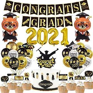 Graduation Party Supplies 2021 Decoration Kit - Class of 2021 Congrats Grad Banner, Graduation Party Balloons, Graduation Cake Cupcake Toppers for Graduation Home Decor