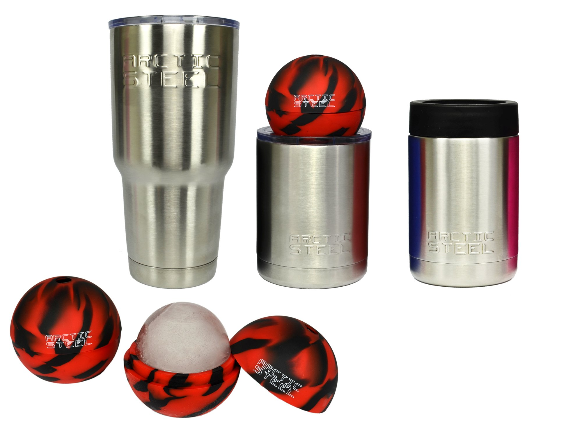 ARCTIC STEEL Cups Christmas Gift Set, Stainless Steel Double Wall Vacuum Insulated, will Keep Your Drinks Cold to the Last Drop, One 30 oz., One 10 oz., One Can Koozie