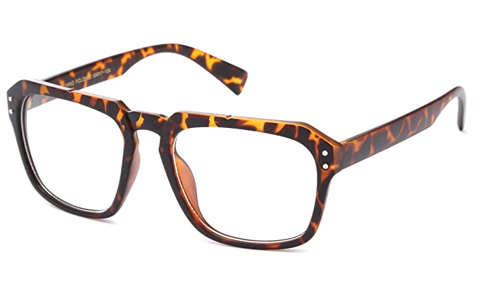 d125d3af4be Amazon.com  IG Unisex Vintage Clark Kent Oversized Geek Squared Frame Clear  Lens Fashion Glasses in Tortoise  Clothing